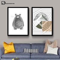 NICOLESHENTING Sketch Bear Animal Minimalist Art Canvas Poster Geometry Abstract Picture Modern Home Living Room Wall Decoration