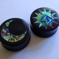 "Abalone Sun and Moon Inlay on Ebony Plugs PAIR 0g (8mm) 00g (9mm) (10mm) 7/16"" (11 mm) 1/2"" (13 mm) 9/16"" (14 mm) 5/8 (16 mm) Ear Gauges"