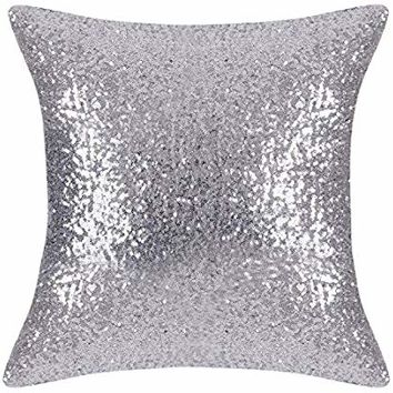 PONY DANCE Bling Sequins Throw Pillow Cover Glitter Sequins Cushion Cover Sofa Pillow Case Wedding/Christmas Decoration Including Hidden Zipper,18 x 18 inches,1 Cover Pack,Silver