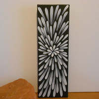 Painting Black and White Flower Aboriginal Inspired by Acires