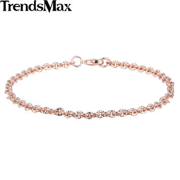 Trendy 3mm CUT Rolo Round Link Womens Chain Ladies Girls Friendship Chain Rose Gold Filled Bracelet