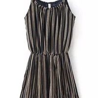 Black Cami Chiffon Dress with White and Yellow Pinstripe Detail
