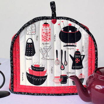 Valentine Teapot Cozy - Insulated Tea Cozy - Modern Handmade Teapot Cover - Red Black Cream Teapot Cosy