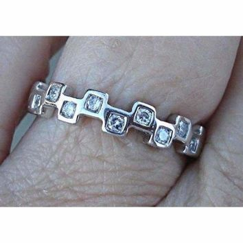 Diamond in Squares White Gold Band, Stacking Ring 14K White Gold
