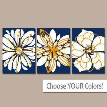 NAVY ORANGE Wall Art, Floral Wall Art, Flower Art, Canvas or Prints, Floral Bathroom Decor, Navy Orange Bedroom Pictures, Set of 3 Pictures