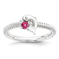 Sterling Silver Stackable Expressions Pink Tourmaline & Diamond Dolphin Ring
