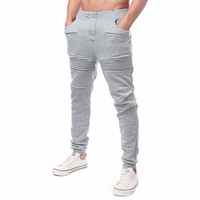 6 Color Fashion Mens Cotton Sweatpants Joggers Elastic Waist Pleated Long Trousers Autumn Winter Casual Solid Pockets Pants