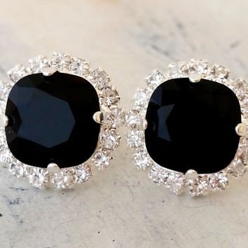 Black crystal stud earrings, Bridal earrings, black rhinestone halo stud earrings, Bridesmaid gift, silver or gold, swarovski stud earring