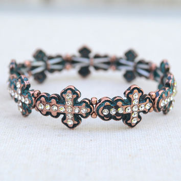 Stretchy Crystal Cross Bracelet