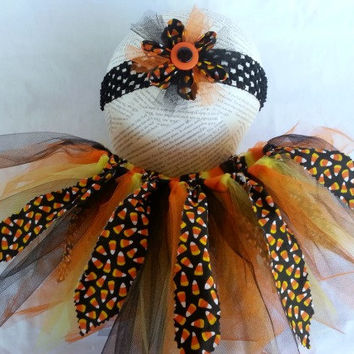 Halloween Candy Corn Tutu & Headband Set - 6 - 12 Month Old Tutu - Toddler Tutu - Orange Black Yellow Tutu - Candy Corn Tutu - Girls Costume