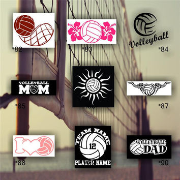 VOLLEYBALL vinyl decals - car sticker - team sports decal - team spirit decal - personalized volleyball sticker - #82-90