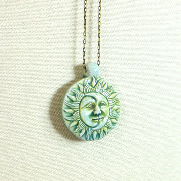 Sun and moon necklace with ceramic celestial by GypsyTribeJewelry