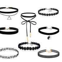 Luxury Lace & Velvet Choker 8 Piece Collection