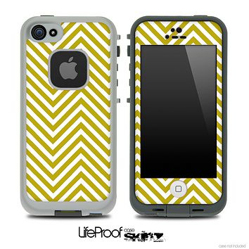 V3 Chevron Pattern White and Gold Skin for the iPhone 5 or 4/4s LifeProof Case