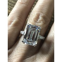 A Perfect 8.2CT Emerald Cut Russian Lab Diamond Ring