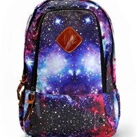 "ZLYC Fashion Unisex Universe Neon Galaxy Pattern Print Casual School Travel 13"" Laptop Backpack Daypack Tablet Bags Student Schoolbag Purple"