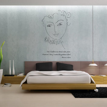 Maria Callas quote and Henri Matisse La Pompadour vinyl wall decal