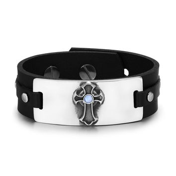 Ancient Celtic Viking Cross Protection Amulet Blue Simulated Cats Eye Adjustable Leather Bracelet
