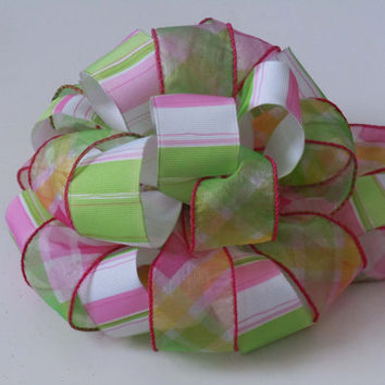 Pink Green Baby Shower Gift Bow Spring Summer Shower Wreath Bow Baby Girl Kids Birthday Party Decorative Bow Packaging Gift Bow