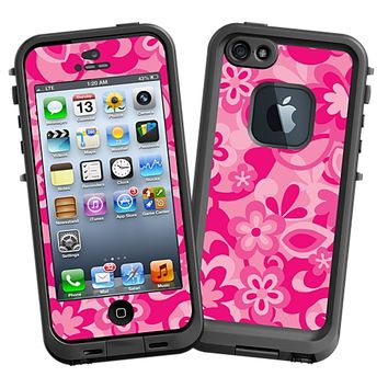 Pink Flower Power Skin  for the iPhone 5 Lifeproof Case by skinzy.com