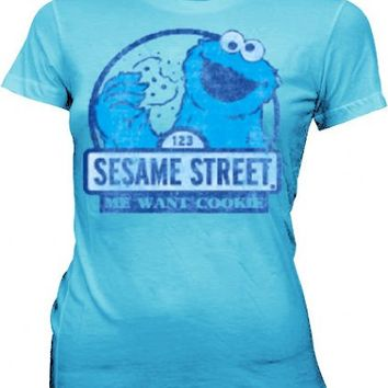 Sesame Street Cookie Monster Me Want Cookie Light Blue Juniors T-shirt