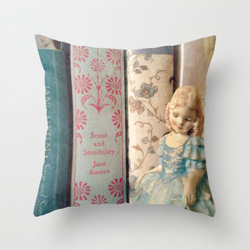 Sense and Sensibility Library Pillow - decor, bedding, Jane Austen, blue, books, librarian, shabby chic, girl's room, Col. Brandon, couch