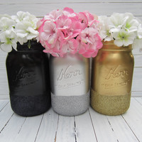 Glitter Mason Jar, Gold, Silver, Black Flower Vase, Wedding decor, Baby shower decor, Office decor, Quart size