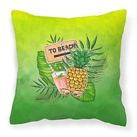 To the Beach Summer Fabric Decorative Pillow BB7450PW1414