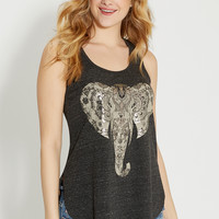 racerback tank with elephant graphic