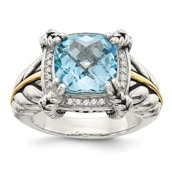 Sterling Silver Two Tone Silver And Gold Plated Sterling Silver w/Sky Blue Topaz & Diamond Ring