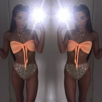 Women Sexy Diamond Rhinestone Solid Bikinis Set Women Swimwear Swimsuit Bathing Beachwear 2017