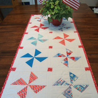 PATRIOTIC TABLE RUNNER - Star Spangled - Pinwheels - Quilted Table Runner - Table Topper - Fourth of July - July 4th - Independence Day