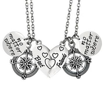 Hollow Compass Heart Pendant Necklace Special Gift For Lovers Friends Jewelry