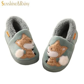 Winter Kids Slippers Boys Girls Household Cotton Shoes Cartoon Little Fox Wooden Floor Bedroom Baby Warm Slippers Children Shoes