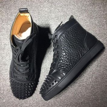 DCCK2 Cl Christian Louboutin Lou Spikes Mid Style #2176 Sneakers Fashion Shoes