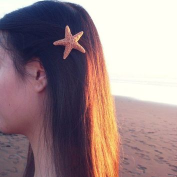 15 OFF Sale Natural Sugar Starfish Barrette by dreamsbythesea