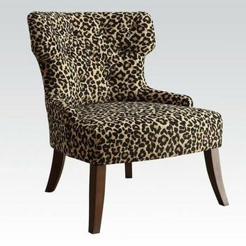 Acme 59188 Claribel leopard pattern fabric accent side chair with wood legs
