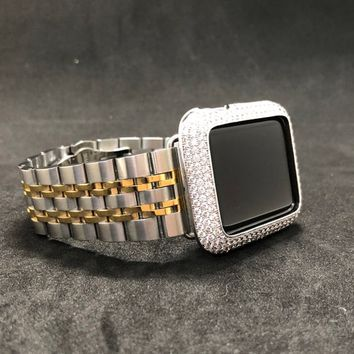 Apple Watch Band Mens 38mm/40mm 42mm/44mm Women's Iwatch Band Two Tone/Apple Watch Cover 18k White Gold Plated Bezel Pave Lab Diamonds Bling