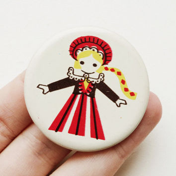 Vintage Soviet era tin pin pinback button medallion cordon badge token folk clothing folklore European brooch