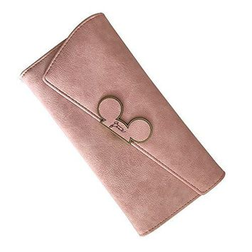 HEMALL 1pcs Color Scrubs Women Wallet Ladies Long Swashlid Trifold Mickey Head Purse Slim Phone Coin Pocket Wallets