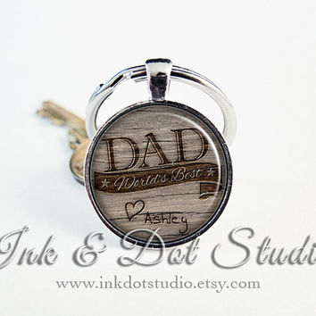 World's Best Dad Keychain, Father's Day Key Ring, Gift for Dad, Rustic Father Gift, Father's Day Gift, Dad Keyring