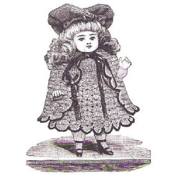 Victorian Crocheted Costume for 6-7 Inches Dolls. PDF Crochet Pattern from 1892. Vintage Dolls Clothes, Dress, Outfit, Hat. Instant Download