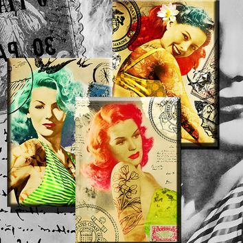 Pinup Collage Sheets -Vintage Pinup Girls repainted with tattoos and shabby chic style. Downloadable Digital Collage Paper Crafts Decoupage