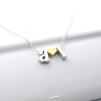 Tiny Initial Couples Necklace | Initial Charm Necklace with Heart