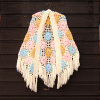 70s Crochet Shawl, OOAK Granny Square Afghan, 60s 70s Hippie Shawl, Hand Crochet Shawl Wrap Poncho, White Pink Blue 3D Floral Fringe Scarf