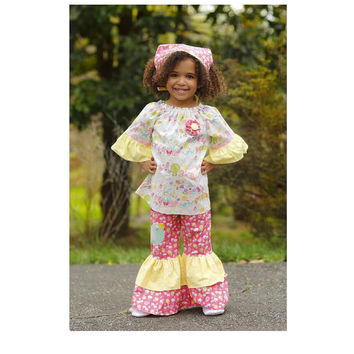 Little Birdie Ruffle Pants and Peasant Top Outfit, Girls Boutique Birthday Outfit, Size 2T 3T 4T 5 6 7 8, Little Girls Clothing