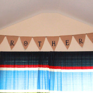 Brother's Burlap Banner, Boys Room Wall Hanging