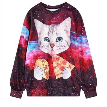 Cat Eating Pizza - Women's Sweatshirt - All Over Print