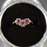 Sterling Ruby Diamond Ring, Engagement Wedding Anniversary Cocktail, Size 8