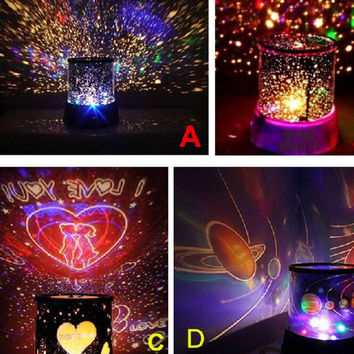 2016 Hot Romantic Cosmos Star Master LED Projector Lamp Night Light Sky Star Master Table Desk Night Lamp for Children  gif